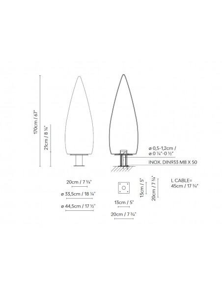 Lámpara de pie de exterior Kanpazar D – Blux