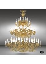 Lámpara colgante clásica de 120 o 135 luces con cristales Asfour o Swarovski - Royal - Riperlamp