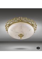 Aplique de techo clásico con plato de cristal talla transparente - Plafones 016K - Riperlamp