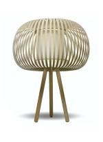 Lámpara de mesa contemporánea con pantalla beige y pie madera haya - Esteno.  - IDP Lampshades