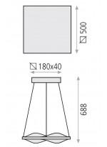 Lámpara colgante LED de aluminio 50 cm 3200K – Curve – ACB Iluminación