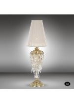Lámpara de mesa de bronce 2 acabados con pantalla negra o beige y cristales Swarovski o Asfour - Samara - Riperlamp