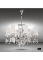 Lámpara colgante con 6 luces de bronce y cristal con pantallas tela blanca - Sevilla - Riperlamp