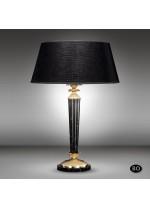 Lámpara de mesa clásica con columna de bronce y base de mármol con pantalla tela negra - Sobremesas - Riperlamp