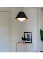 Lámpara colgante de antracita con acabado negro y dorado ajustable en altura – Loll – Milan