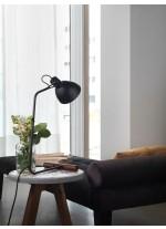 Lámpara de mesa con metal en negro mate y base madera nogal – Aito – Aromas