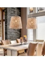 Colgante decorativo con pantalla de fibra beige y marrón Ø 45 cm - Vimet - Exo - Novolux