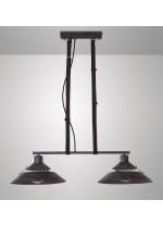 Colgante de techo con 2 luces retro de metal negro - Industrial - Mantra