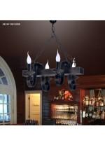 Lámpara colgante con estructura de madera y 4 luces – Arpe – Artesanía Joalpa