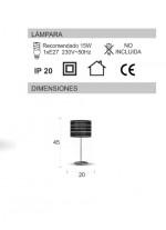 Lámpara de mesa con pantalla de material troquelado en 2 colores - Arenal Plata - IDP Lampshades