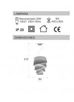 Lámpara colgante de madera o material chins 215 cm - Audrey - IDP Lampshades