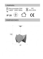 Lámpara de techo con pantalla color taupe - Origami - IDP Lampshades