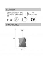 Lámpara de techo en material chins gris - Origami - IDP Lampshades