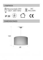 Lámpara de techo de material textil seda 48 cm - Seda - IDP Lampshades