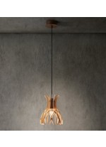 Lámpara colgante fabricada con finas lamas de madera natural disponible en marrón o blanco mate – Domita – Bover