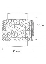Lámpara colgante estilo planetario con pantalla en dos colores y tubo interior traslúcido – Malla de papel – IDP Lampshades