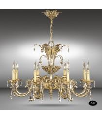 Lámpara colgante clásica de 6, 8, 12 y 16 luces con cristales Asfour o Swarovski - Royal - Riperlamp