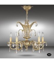 Lámpara de suspensión clásica con cristales Asfour o Swarovski de 5 luces - Royal - Riperlamp