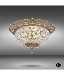 Aplique de techo de latón de 2 luces con cristales Asfour o Swarovski - Plafones 050J - Riperlamp