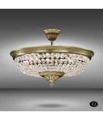 Aplique de techo de latón con cristales de Asfour y Swarovski 6 luces - Semiplafones 055H - Riperlamp