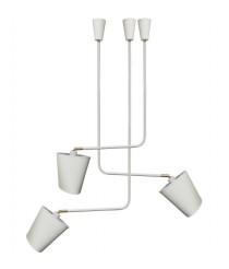 Set de lámparas colgantes de metal acabado blanco con 3 luces – Kino Pantalla – IDP Lampshades