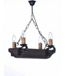 Lámpara colgante de madera y metal con 4 luces – L-51/4 – Artesanía Joalpa