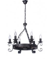 Lámpara colgante con estructura de madera y metal – Lino – Artesanía Joalpa