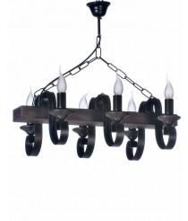 Lámpara colgante con estructura de madera y 6 luces – Arpe – Artesanía Joalpa