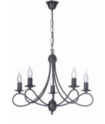 Lámpara colgante de metal negra con 5 luces – Viso – Artesanía Joalpa