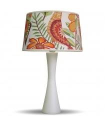 Lámpara de mesa de madera blanca con pantalla 52% algodón - Estampados - IDP Lampshades