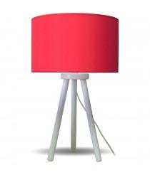 Lámpara de mesa de madera y pantalla de tela roja - Estampados - IDP Lampshades