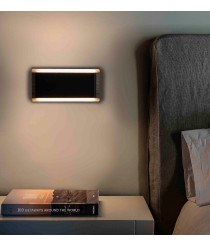 Aplique de pared moderno LED 3000K negro+madera - Mood - Faro