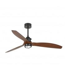 Ventilador de techo en acabado negro mate/madera Ø 178 cm con o sin luz – Just Fan – Faro