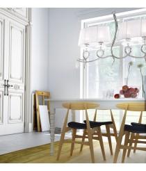 Lámpara colgante de metal, cristal y tela 4 luces formato lineal - Louise - Mantra