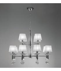 Lámpara de techo de metal en 2 acabados 8+4 luces - Tiffany - Mantra