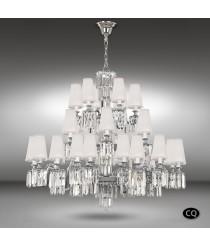 Lámpara colgante de latón y cristal con pantallas de tela blanca con 30 luces - Sevilla - Riperlamp