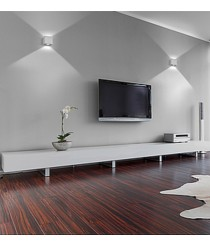 Aplique de pared cuadrado LED en aluminio cepillado 3000K – Brick – Exo – Novolux