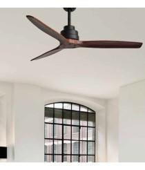 Silencioso ventilador con 3 palas en tonos caoba y negro con mando a distancia - Byron - Massmi