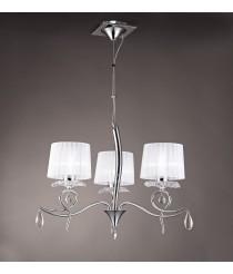 Lámpara colgante de metal, tela y cristal con 3, 5 o 6 luces - Louise - Mantra