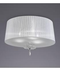 Aplique de techo de cristal, tela y metal con 3 luces Ø50 cm - Louise - Mantra