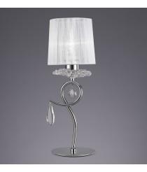 Lámpara de mesa de metal, cristal y tela con 1 o 2 luces - Louise - Mantra