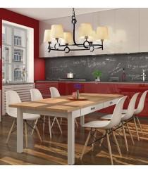 Lámpara de techo con 6 o 3 pantallas de tela color arena - Argi - Mantra