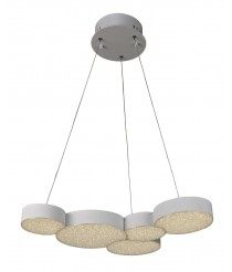 Lámpara colgante LED de ABS y metal con control remoto 5 círculos 3000K - Lunas - Mantra