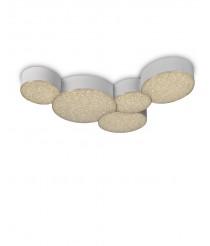 Aplique de techo LED de ABS y metal con control remoto 5 círculos 3000K - Lunas - Mantra