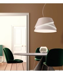 Lámpara colgante regulable de aluminio y hierro acabado blanco - Alboran - Mantra
