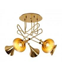 Aplique de techo de hierro acabado dorado con 5 luces - Jazz - Mantra