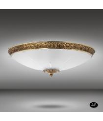 Aplique de techo con aro de latón y cristal en ácido talla transparente 5 luces - Plafones 616Q - Riperlamp