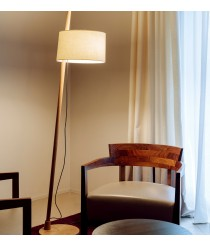 Lámpara de pie de madera de roble y pantalla ajustable en altura de 100% lino – Linood – Milan