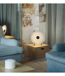 Lámpara de mesa LED de acero con pantalla difusora de vidrio - Halos – Milan