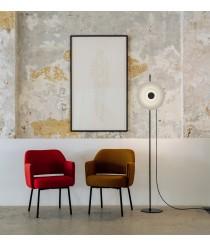 Lámpara de pie LED de acero negro con pantalla difusora de vidrio – Halos – Milan